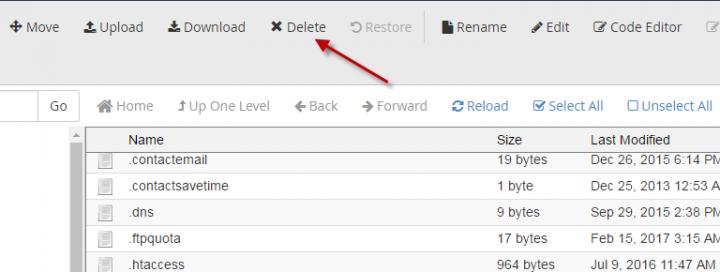كيفية حذف ملف قديم من لوحة تحكم السى بانل  (Cpanel) 11